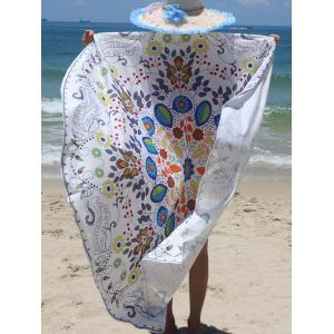 Floral Print Circle Beach Cover Up - COLORMIX ONE SIZE