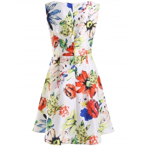 Sweet Floral Pattern Zippered Mini Dress -