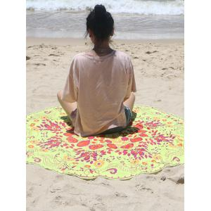 Circle Plant Print Beach Cover Up -
