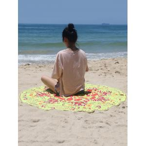 Circle Plant Print Beach Cover Up - FLUORESCENT YELLOW ONE SIZE