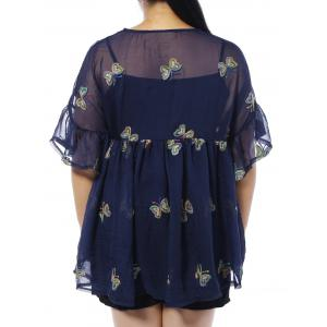 Plus Size Butterfly Embroidered Blouse with Camisole -