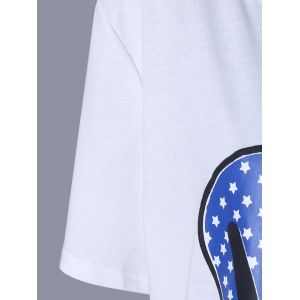 Oversized Casual Heart Flag Pattern Long T-Shirt -