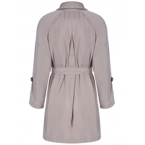 Plus Size Tie Belt Double Breasted Long Trench Coat - LIGHT KHAKI 2XL