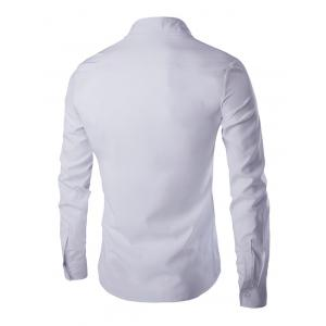 Chic Zipper Openning Turn-Down Collar Long Sleeve Shirt For Men - WHITE 2XL
