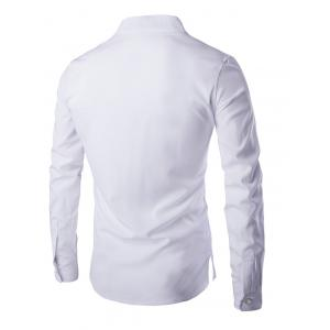 Mandarin Collar Long Sleeve Slim Fit Shirt - WHITE 2XL