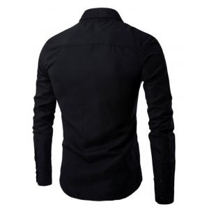 Turn Down Collar Color Spliced Long Sleeve Shirt For Men - BLACK 3XL