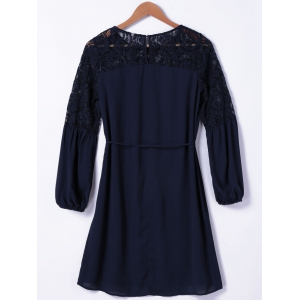 Casual Round Neck Long Sleeve Lace Dress -