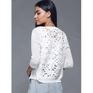 Hollow Out Back Cutwork Splicing Cardigan -