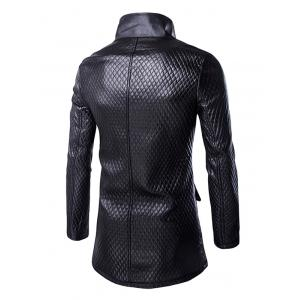 Retro Style Pockets Design Funnel Collar Leather Coat For Men - BLACK 2XL