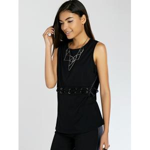Lace-Up Pure Color Tank Top - BLACK M