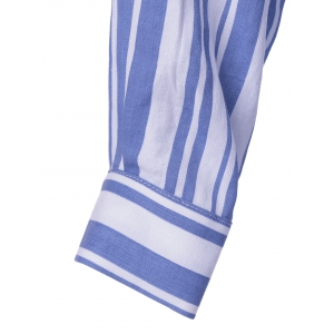 Contracted Stripe Long Sleeve Shirt For Women - BLUE/WHITE XL