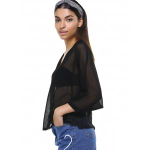 Lace Splicing See-Through Buttoned Cardigan -