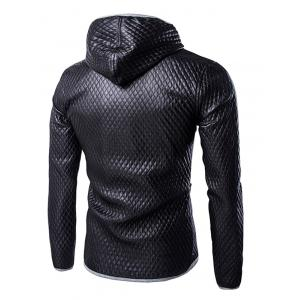 Retro Style Color Block Hooded Quilting Leather Coat For Men -