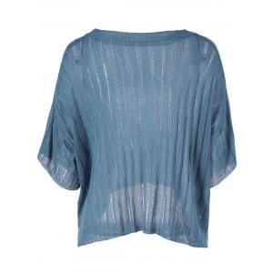 Loose-Fitting  Women's Scoop Neck Solid Color Short Sleeves Knitwear -