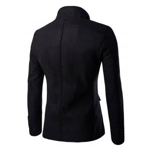 Chic Buttons Design Stand Collar Zipper Openning Overcoat For Men - BLACK 2XL