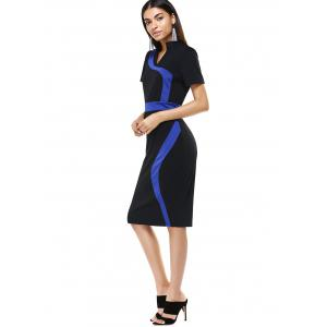 Stand Collar Color Block Midi  Dress -