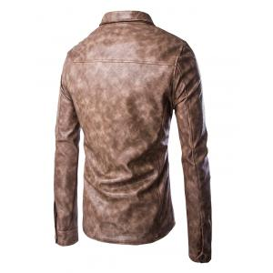 Retro Style Turn-Down Collar Flap-Pocket Design Leather Coat For Men -