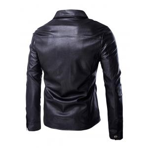 Retro Style Turn-Down Collar Flap-Pocket Design Leather Coat For Men - BLACK XL