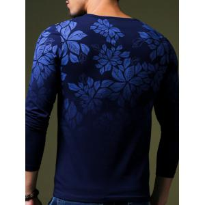 Stylish Flower Print Slim Fit Round Neck Long Sleeve T-Shirt For Men - SAPPHIRE BLUE L