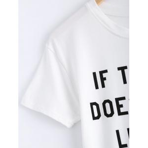 Simple Short Sleeve Letter Print Women's T-Shirt - WHITE XL