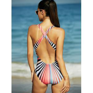 Rainbow Stripe Hollow Out Backless One-Piece Swimsuit -