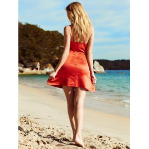 Fashionable Spaghetti Strap Red Backless Slimming Women's Dress - RED S