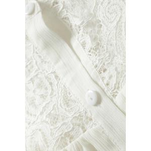Hollow Out Lace Spliced Chiffon Blouse - WHITE S