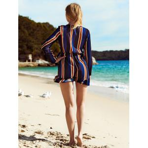 Plunging Neck Bowknot Striped Long Sleeve Romper - DEEP BLUE S