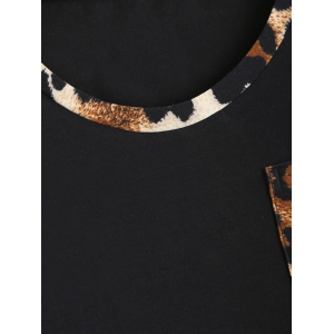 Trendy Leopard Print Single Pocket T-Shirt - LEOPARD XL