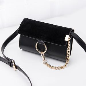 Trendy Splicing and Metal Ring Design Crossbody Bag For Women -