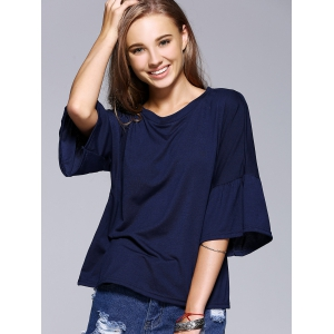 Chic Flare Sleeve Solid Color T-Shirt For Women -