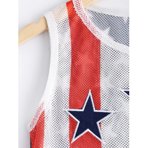 Fashionable Round Collar Elasticated Net Star Stripe Printing Tank Top For Women - BLACK/WHITE/RED XL