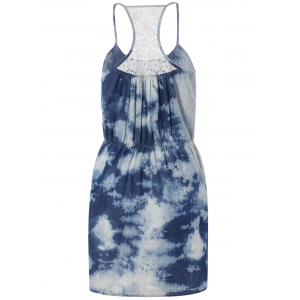 Spaghetti Strap Tie-Dyed Lace Spliced Dress -