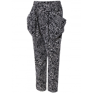 Pocket Design Leopard Print Harem Pants -