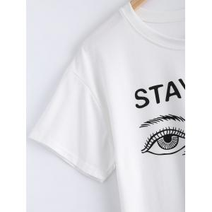 Chic Short Sleeve Eyes Print Letter Pattern Women's T-Shirt -