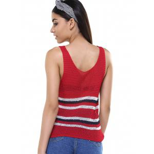 Simple Women's Red Striped Open Work Tank Top -