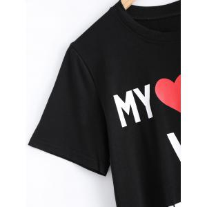 Chic Round Neck Letter Print Heart Pattern Women's T-Shirt -