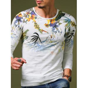 Stylish Plant Print Slim Fit Round Neck Long Sleeve T-Shirt For Men - WHITE M