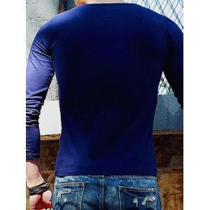 Solid Color Round Neck Long Sleeve T-Shirt For Men - SAPPHIRE BLUE M