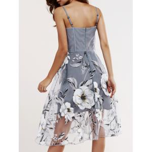 Voile Splicing Floral Print Cami Dress - GRAY XL