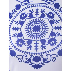 Fashionable Short Sleeve Blue and White Porcelain Print Dress -