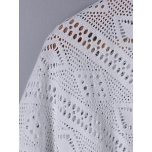 Fashionable 3/4 Sleeve Loose-Fitting Lace Spliced Cardigan -