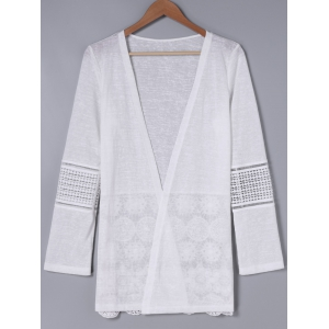 Simple Design Long Sleeve White Cardigan -