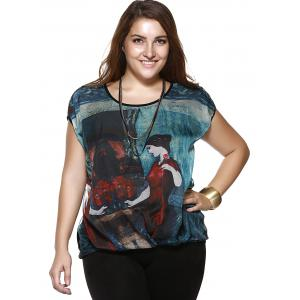 Plus Size Casual Beauty Print Blouse -