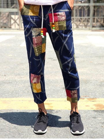 Fancy Lace-Up Patch Style Print Nine Minutes of Pants For Men