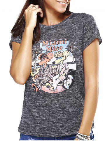 Fancy Chic Women's Cartoon Pattern Gray T-Shirt
