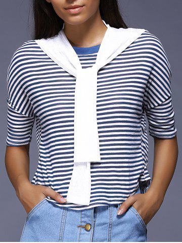 Fashion Preppy Style Faux Two-Piece Striped T-Shirt For Women