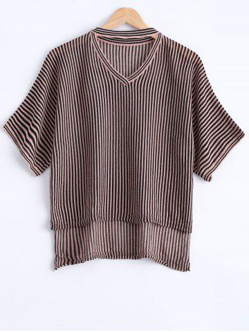 Latest Casual Asymmetric Striped Short Sleeves Knitwear For Women