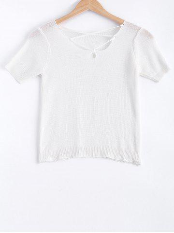 New Stylish Lace-Up Short Sleeves Solid Color Knitwear For Women