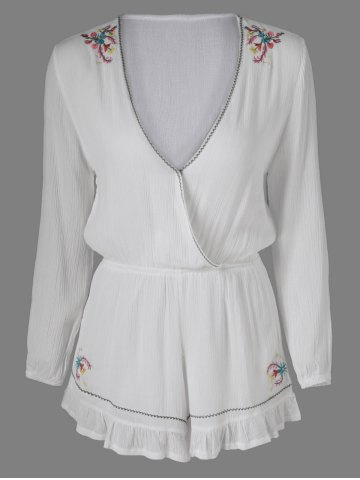 Outfit Sweet Embroidered Plunging Neck Long Sleeves Romper For Women